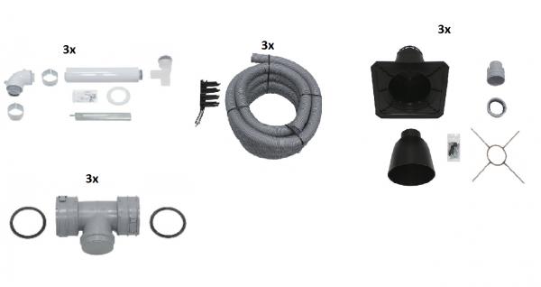 VAILLANT Paket Luft-/Abgasführung im Schacht flex.,Anschluss-Set D 60/100 PP (3 Stck)