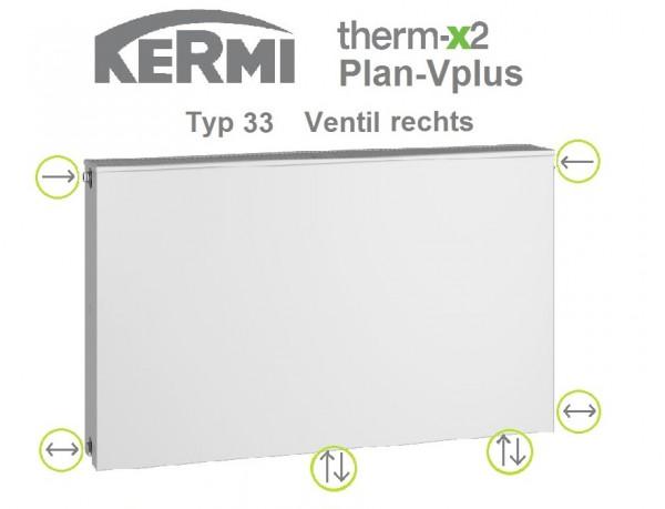 Kermi Plan-Vplus Typ 33, BH 505 x BL 1305 x BT 157 mm, Ventil rechts, versandkostenfrei in NRW