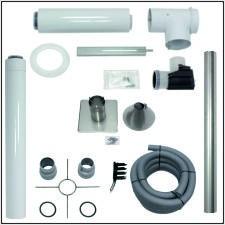 Vaillant Set Abgasleitung 80/125, rlu, flex., Metall-Haube, Grundpaket für 15 m Höhe (im Kamin)