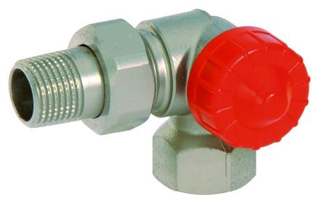 """Thermostat-Winkel-Eckventil 1/2"""" rechts Messing poliert und vernickelt"""