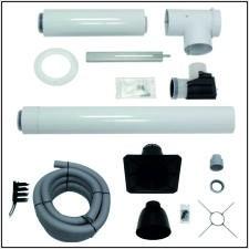 Vaillant Set Abgasleitung 80/125, rlu, flex., Kunststoff-Haube, Grundpaket für 15 m Höhe (im Kamin)