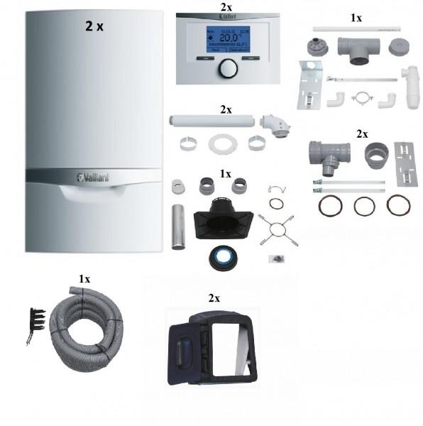 VAILLANT Paket 1.604/3 Mehrfachbelegung 2er VCW 206/5-5LL, Raumtemperaturregler VRT350, Abgasführung