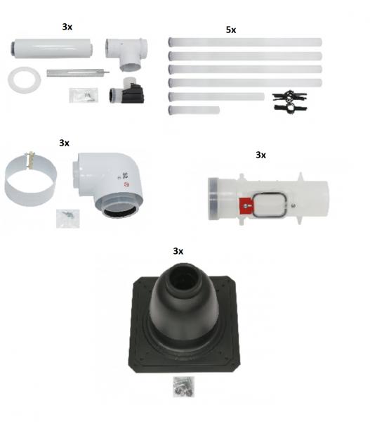 VAILANT Paket Luft-/Abgasführung Anschluss-Set D 80/125 PP (3 Stck),starr