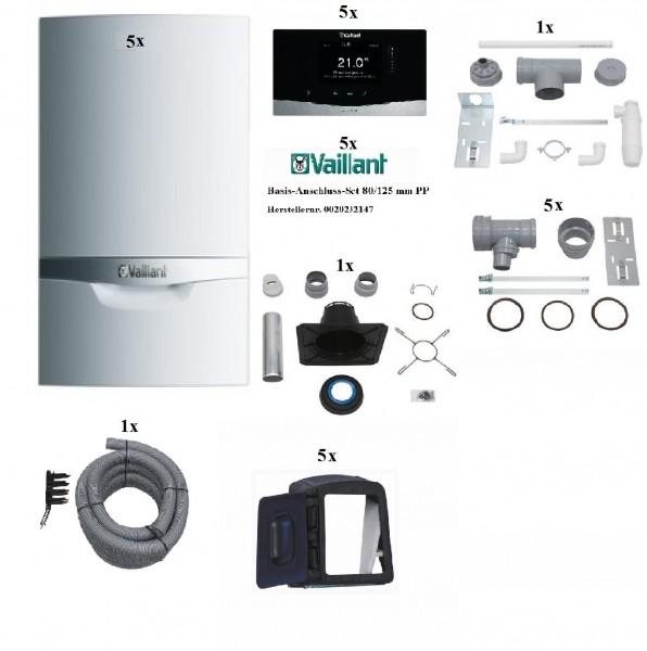 VAILLANT Paket 1.632 Mehrfachbelegung 5er VCW 206/5-5LL, Raumtemperaturregler VRT 380, Abgasführung