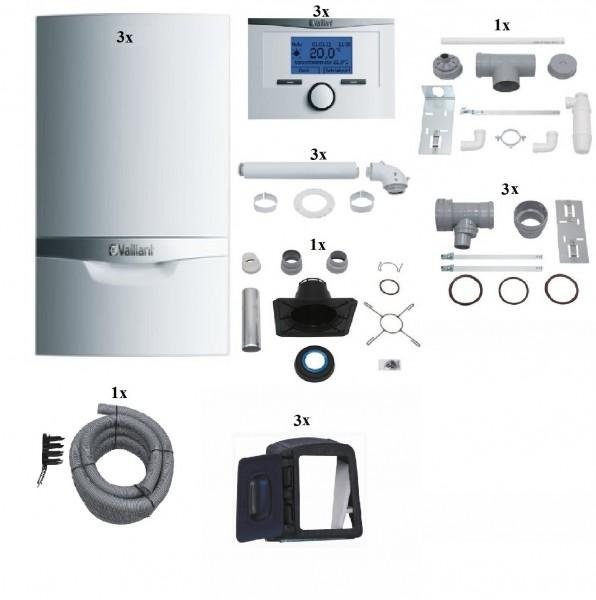 VAILLANT Paket 1.601/3 Mehrfachbelegung 3er VCW 206/5-5E, Raumtemperaturregler VRT350, Abgasführung