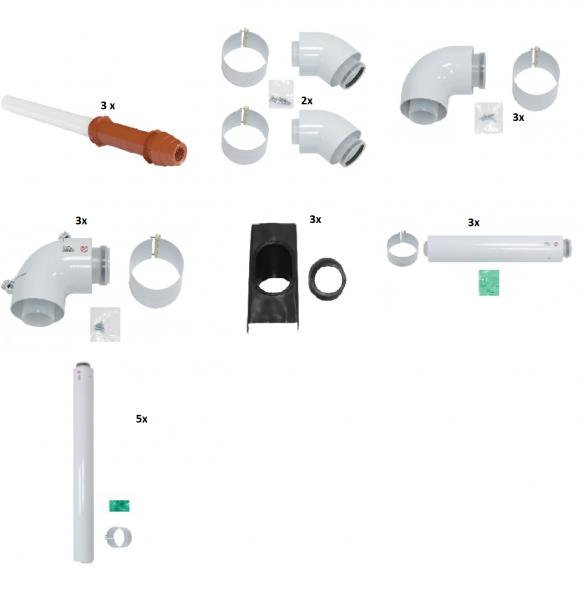 VAILLANT Paket Luft-/Abgasführung, senkrechte Dachdurchf. rot, D 60/100 PP (3 Stck)