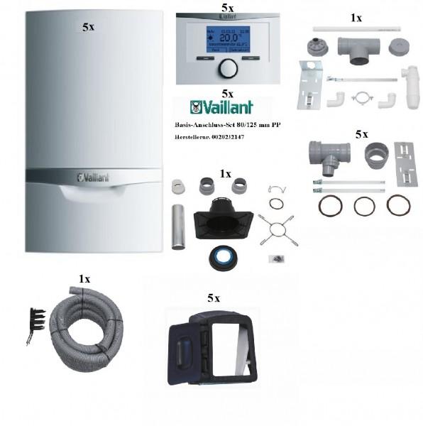 VAILLANT Paket 1.608/4 Mehrfachbelegung 5er VCW 206/5-5E, Raumtemperaturregler VRT350, Abgasführung