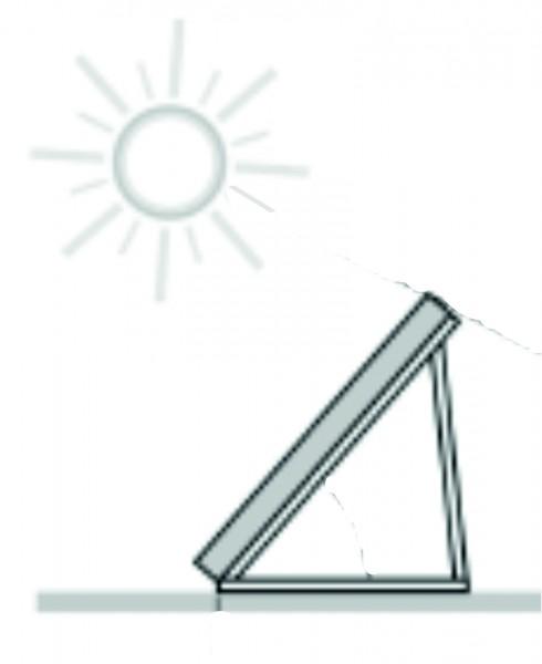 Aufständerung für Flachdächer 25 bis 45 Grad, 4 Kollektoren, waagerech
