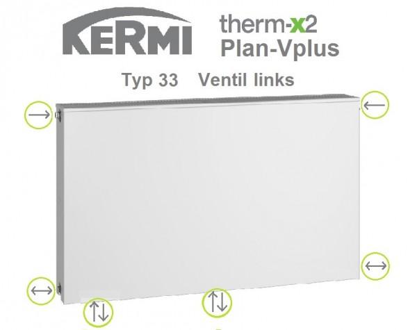 Kermi Plan-Vplus Typ 33, BH 505 x BL 1405 x BT 157 mm, Ventil links, versandkostenfrei in NRW
